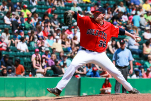 Kyle Anderson pitches to a Sioux Falls Canaries batter on June 4, 2015. SUPPLIED/Paul McKeen.