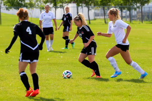 Jessica Lister playing in a Rebels women's soccer game last year. SUPPLIED/Ben Wettlaufer.