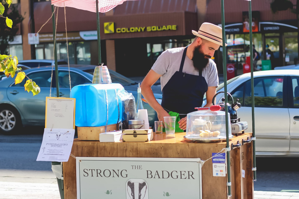 Brock Peters sets up shop selling coffee from his mobile cart. The entrepreneur is trying to make the move from cart to coffee shop with an Indiegogo campaign and a social. THE PROJECTOR/Bailee Woods