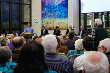A community member asks questions of the panel at the Canadian Mennonite University on Nov. 4, 2015. THE PROJECTOR/ Jennfier Do erksen