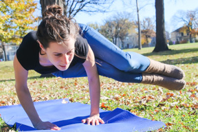 Monique Van Osch practices yoga, an alternative to high-impact sports, at Provencher Park on Oct. 19, 2015. THE PROJECTOR/ Shaylyn McMahon