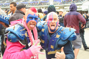 "Tyler ""Fly Tie"" Soares (left) and Brad ""Bucky"" Buckskin show off their pink tongues and face paint during the Winnipeg Blue Bombers' annual PINK game. THE PROJECTOR/ Laura Hayward"