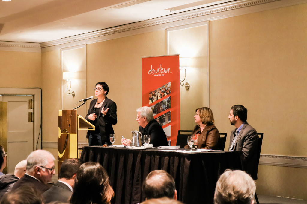 Coun. Jenny Gerbasi (Fort Rouge – East Fort Garry) speaks at the Imagine Portage and Main public forum at the Fairmont hotel. THE PROJECTOR/ James Doroshuk
