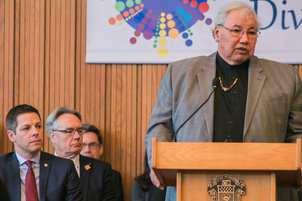 Mayor Brian Bowman hosts a press conference on Jan 22, 2016, Justice Murray Sinclair speaks. THE PROJECTOR/Erik Fjelsted