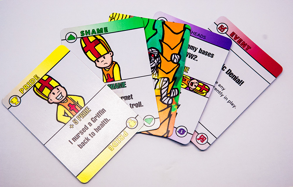 There are several card types in Surplus of Popes: Pride, Shame, Event, Flip and a special card that starts a mini-game called Mummy Want Banana. SUPPLIED/ Surplus of Popes