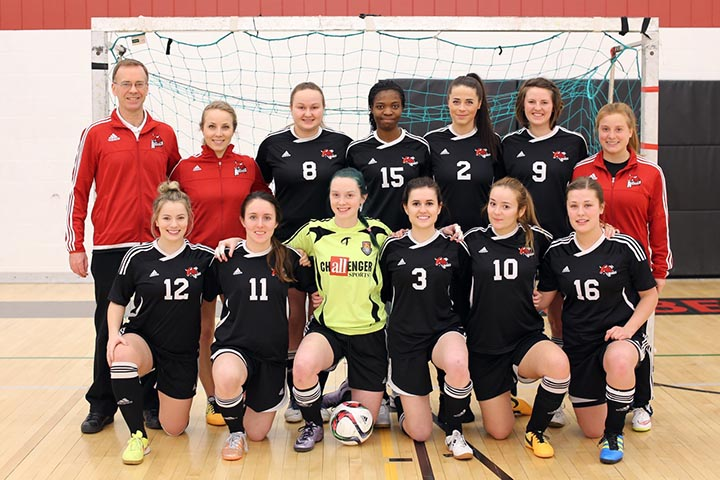 The women's Rebels futsal team poses after a win at home against the Université de Saint Boniface Les Rouges. SUPPLIED/ Ben Wettlaufer