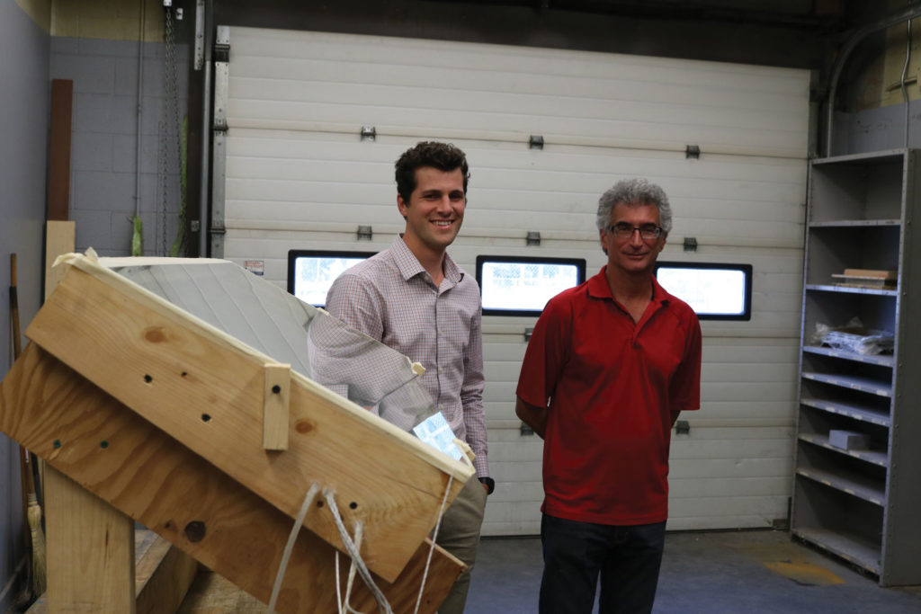 Inventors Sergei Broeska (left) and Leon Fainstein started working on the flat plate solar Stirling engine in 2015. THE PROJECTOR/ Schuyler Hunt