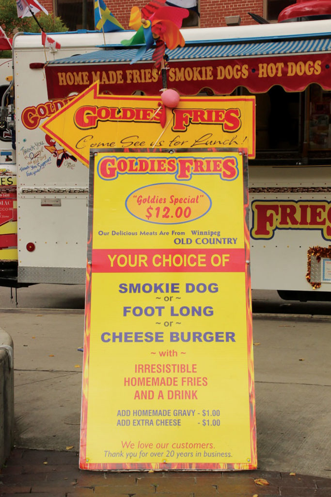 The menu options are on display at the Goldies Fries food truck near RRC's Roblin Centre. THE PROJECTOR/ Shreya Jhunjhunwala