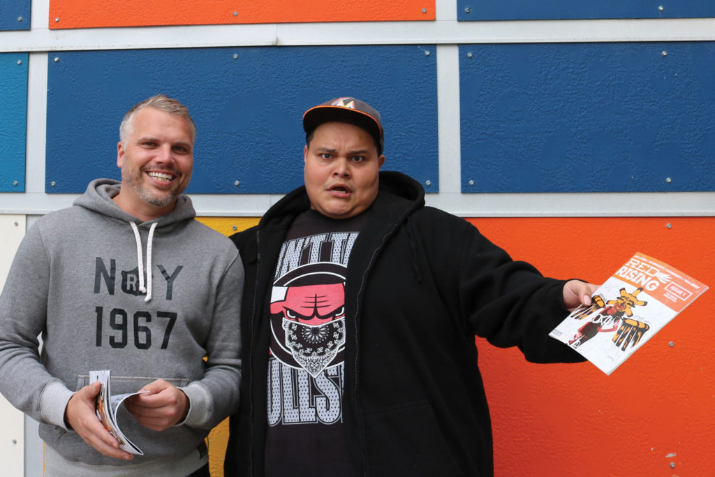 Ben Walker and Paul Rabliauskas joke around in front of the West End Cultural Centre where 'Laughter is Medicine' will take place Sept. 22. THE PROJECTOR/ Kit Muir