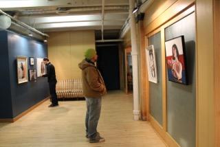 Ian Crellin admiring one of Shouresh Jalili's pieces. THE PROJECTOR/ Melissa Hansen