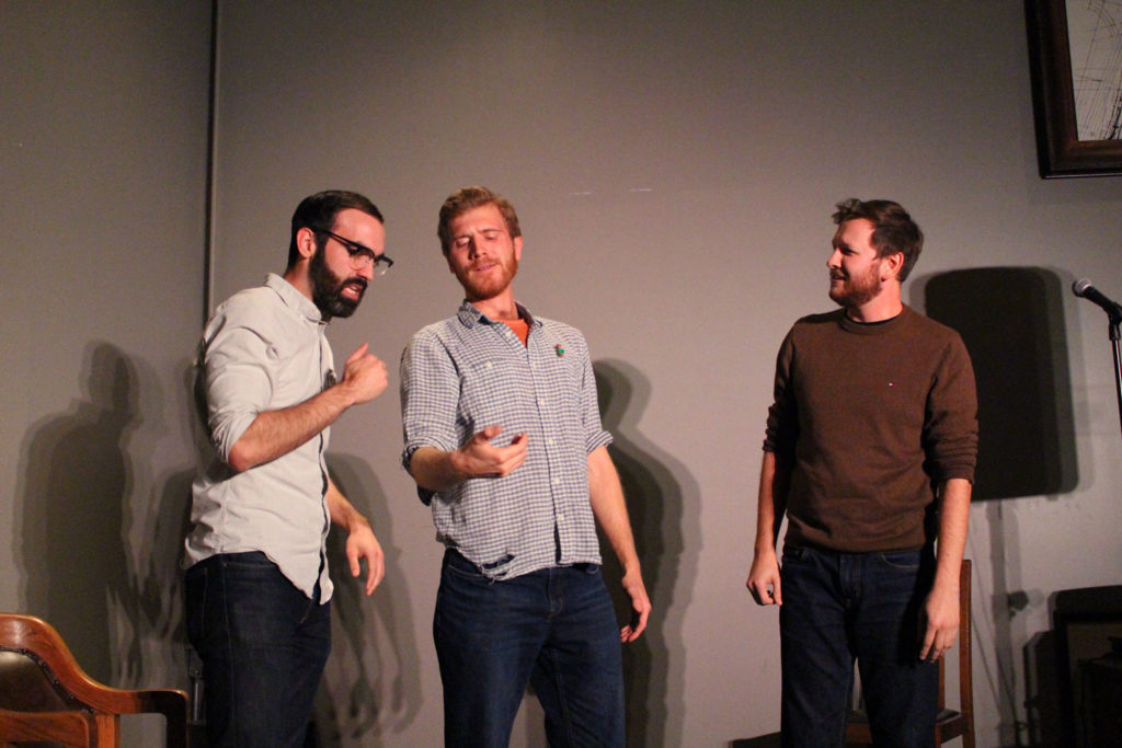 The men of Parking Lots in an improvised scene about the horrors of expiring cell phone contracts. THE PROJECTOR/ Daniela Whelan