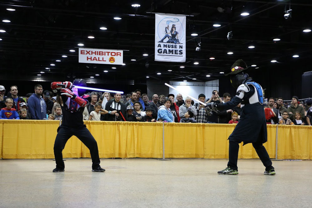 Two Jedi face-off in a sparring exchange, each waiting for the right moment to strike at the River City Jedi demonstration for C4 – Central Canada Comic Con on Oct. 29, 2016. THE PROJECTOR/ Manny Goossen
