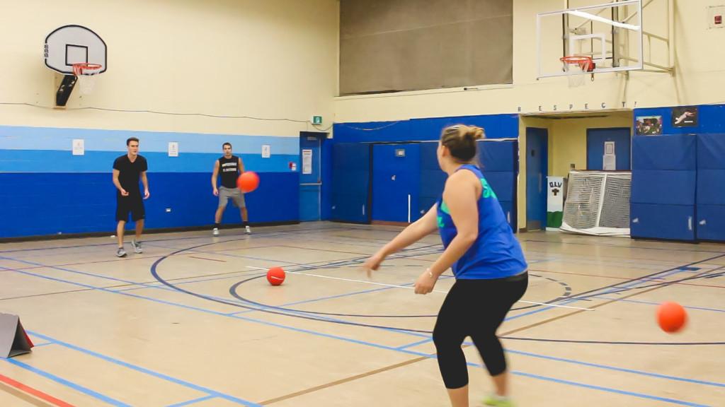 Jarid Dutchak and Jenna Matheison's dodgeball team, the Vinegar Strokes, playing in a regular season game last year. THE PROJECTOR/Jordan Haslbeck
