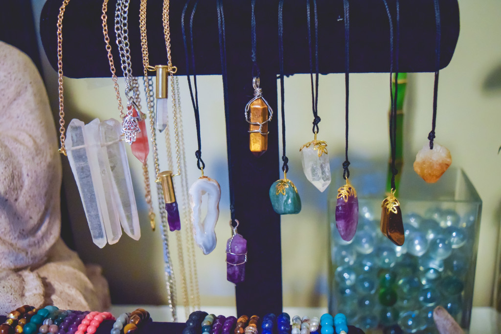 """The """"shooting energy"""" necklaces from Blue Lotus are made from bullets. Other pieces are made from crystals and healing stones. THE PROJECTOR/Danelle Granger"""