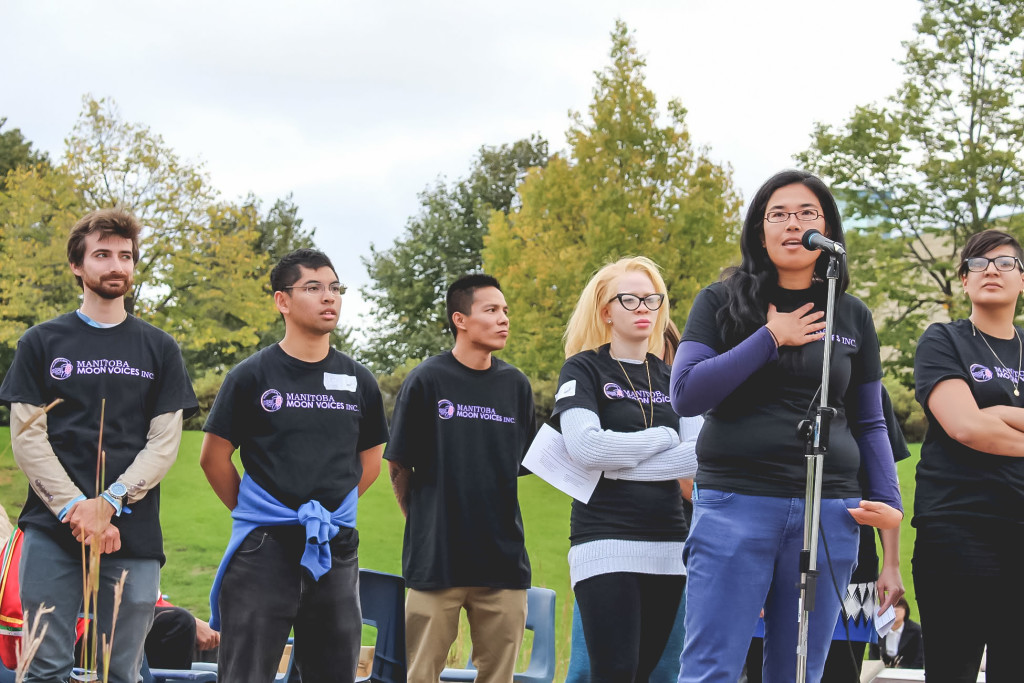 Members of Aboriginal Youth Opportunities and other guests spoke at Our Summit on Sept. 17. THE PROJECTOR/Jennifer Doerksen