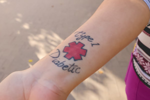Williams's tattoo identifies her as a type 1 diabetic