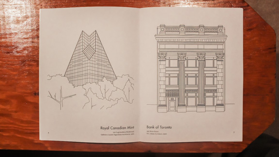 Colour Your City features drawings of Winnipeg architecture including the Royal Canadian Mint and the Bank of Toronto. Robyn Shesterniak was commissioned to draw the pictures. THE PROJECTOR/Will Bazan