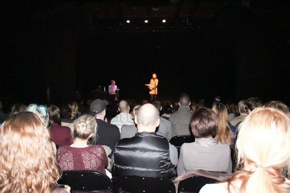 A packed house at The Park Theatre where people watched 16 Winnipeggers read things they wrote as kids. THE PROJECTOR/Ashley Tokaruk