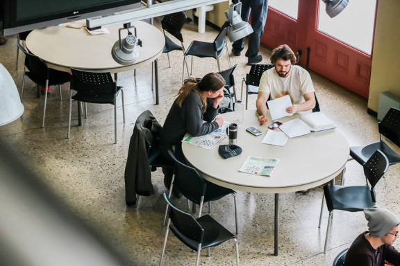 Students studying in the cafeteria at Red River College's Roblin Centre. THE PROJECTOR/SAWCHUK