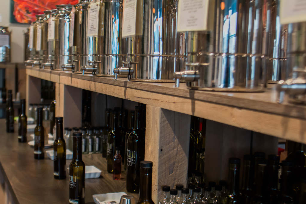 Casks of olive oil and vinegar are all available to taste before you buy at Frescolio. THE PROJECTOR/ Erin DeBooy