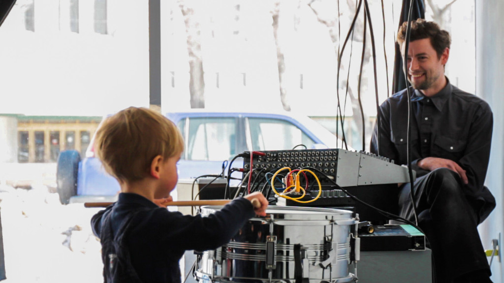 Artist Aston Coles monitors the sound during 8 Channel Live Recording with Children on Feb. 21.THE PROJECTOR/ Rachel Carlson