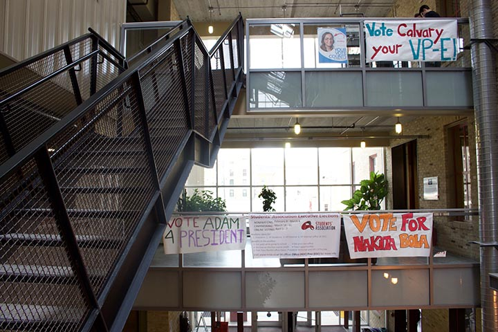 Election banners adorn the atrium at the Roblin Centre. THE PROJECTOR/ Courtney Bannatyne