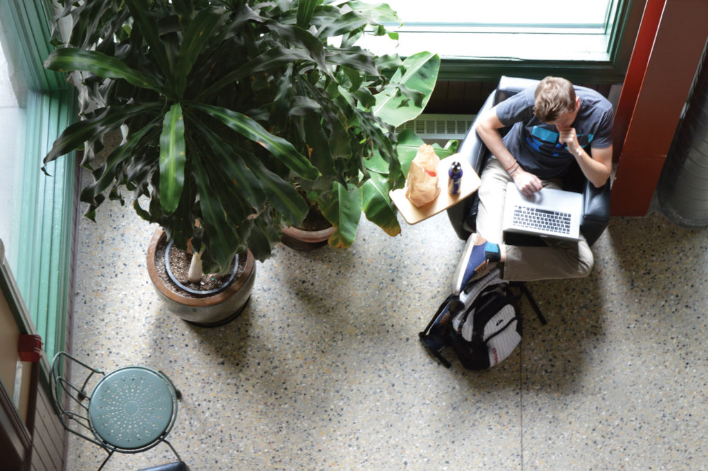 A student studies at the Exchange District Campus during the first weeks of classes. As of August, students can receive more in non-repayable grants than last year. THE PROJECTOR/ Keila DePape