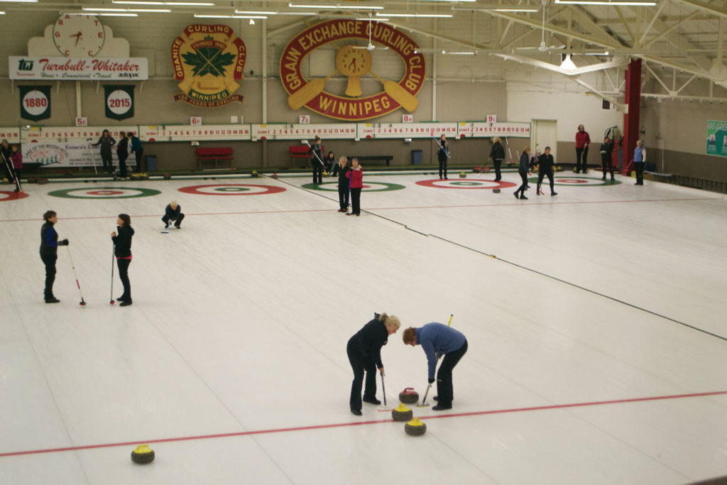 The Monday League at The Granite Curling Club got underway on Oct. 3, 2016. These players are excited to see how the new brooms will perform in the upcoming WCF tournament in Russia. THE PROJECTOR/ Adrian McMorris