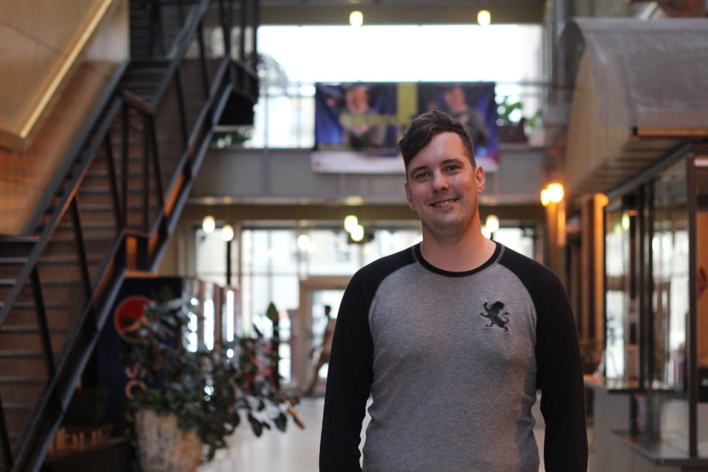 Matthew Pruse stands on Princess RRC campus after talking about REEL PRIDE Film Festival. He is the volunteer director of the fest, and is excited to share LGBTTQ* stories. THE PROJECTOR/ Amanda Emms