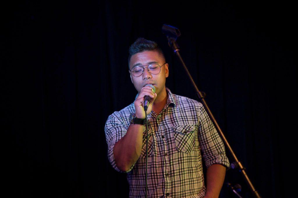 Jeffrey Rumbaoa sings karaoke at RRC's Kegeroke event. SUPPLIED/ Lindsay Rowan