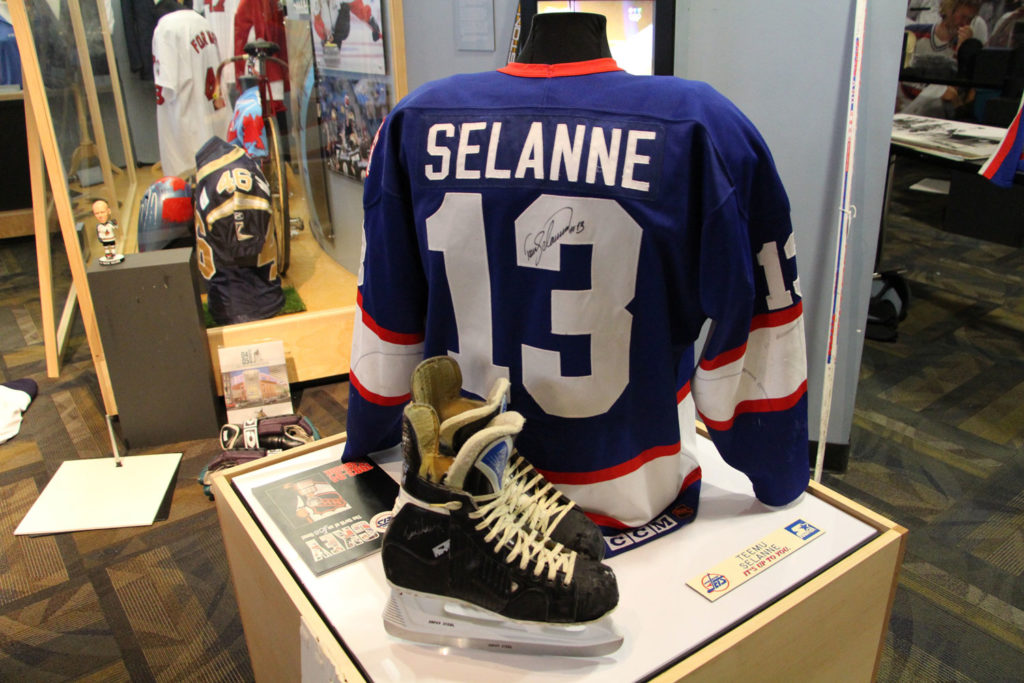 "Game used jersey, skates, and more of the ""Finnish Flash"" will be on display at the exhibit. THE PROJECTOR/ Taylor Allen"