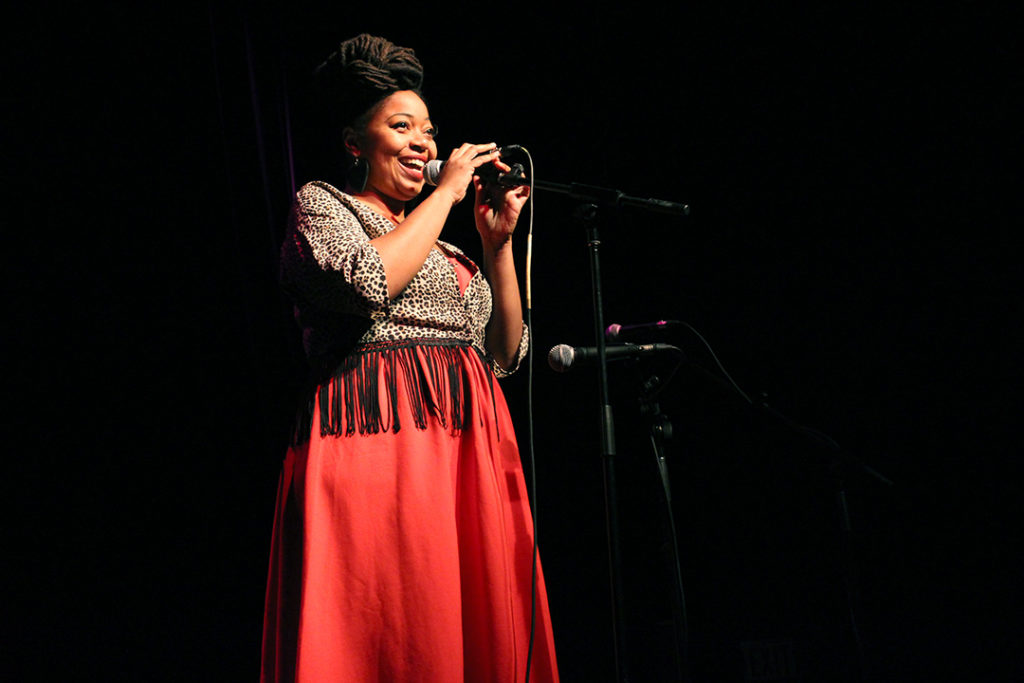 """Jillian Christmas smiles as she draws shouts of """"I love you!"""" from the crowd at the Garrick Theatre on October 29, 2016. THE PROJECTOR/ Jennifer Doerksen"""