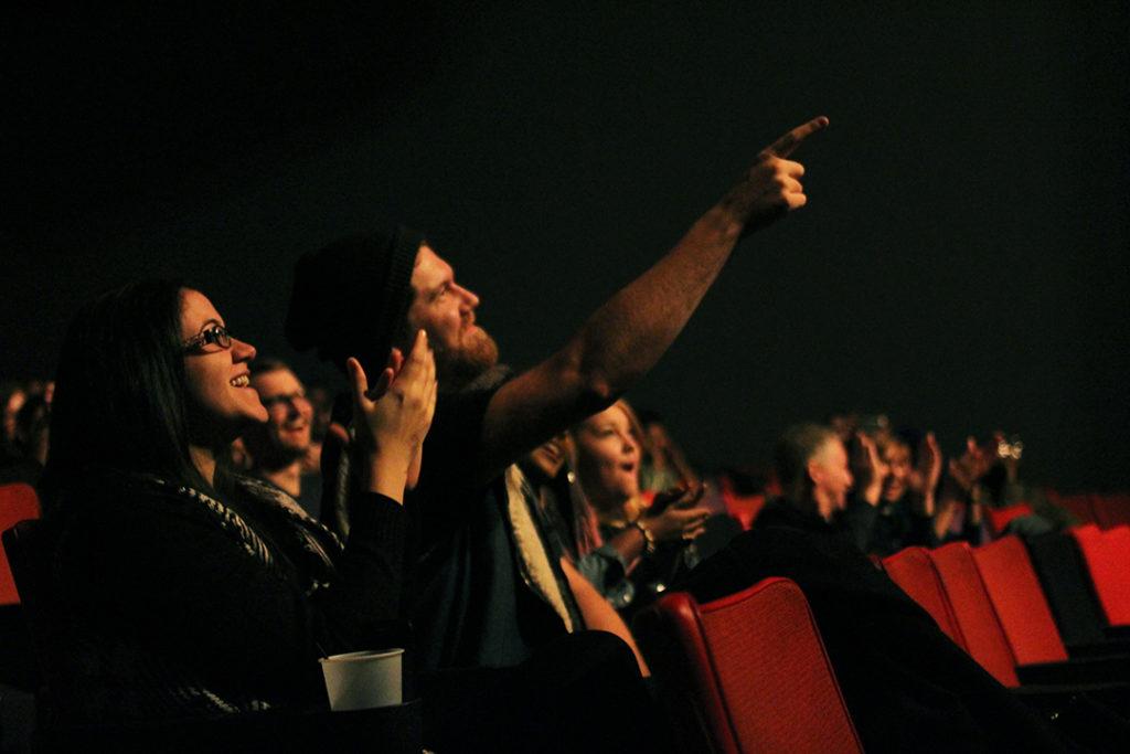 Samantha Badaoa applauds and Matt Loeb points as Ian Keteku performs at the Garrick Theatre on October 29, 2016. THE PROJECTOR/ Jennifer Doerksen