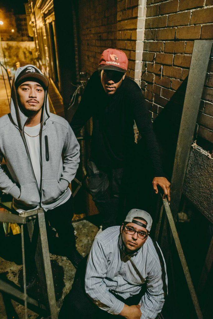 The three MCs of 3Peat Errol (E.GG), Dillin Morgan (Dill the Giant), and Steve Teixeira.