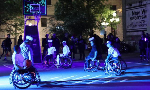 Nuit Blanche Installation brings wheelchair basketball to the Exchange.