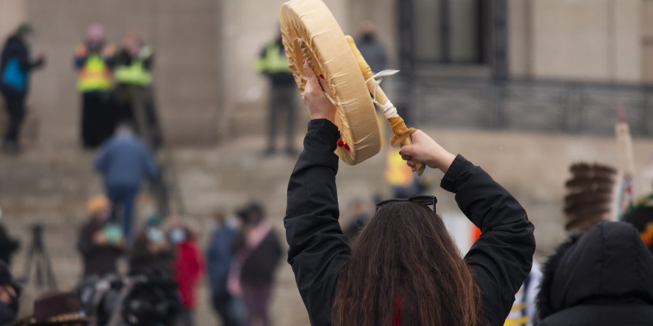 MANITOBANS RALLY AT LEGISLATURE BUILDING supporting MI'KMAQ FISHERS